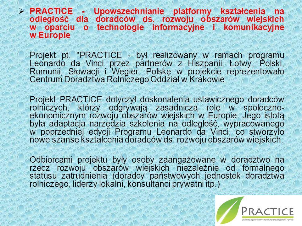  PRACTICE - Upowszechnianie platformy kształcenia na odległość dla doradców ds.