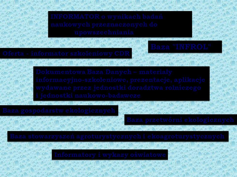 INFORMATOR o wynikach badań naukowych przeznaczonych do upowszechniania Baza INFROL Oferta - informator szkoleniowy CDR Informatory i wykazy oświatowe Dokumentowa Baza Danych – materiały informacyjno-szkoleniowe, prezentacje, aplikacje wydawane przez jednostki doradztwa rolniczego i jednostki naukowo-badawcze Baza gospodarstw ekologicznych Baza przetwórni ekologicznych Baza stowarzyszeń agroturystycznych i ekoagroturystycznych