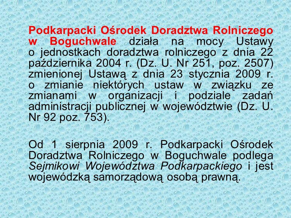Podkarpacki Ośrodek Doradztwa Rolniczego w Boguchwale działa na mocy Ustawy o jednostkach doradztwa rolniczego z dnia 22 października 2004 r.