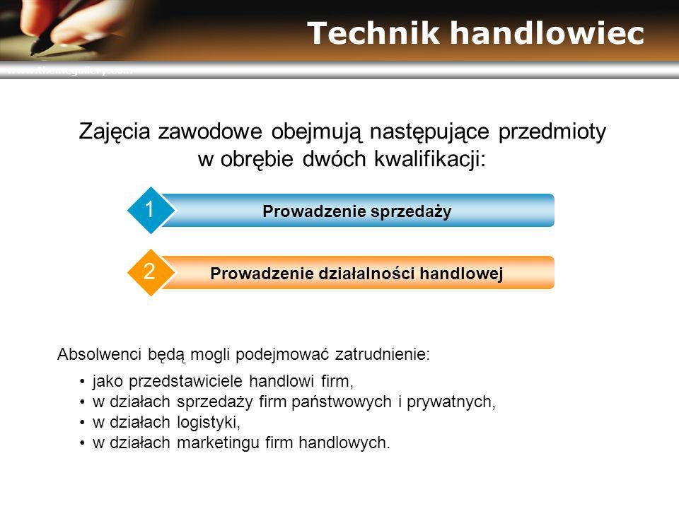 www.themegallery.com Technik handlowiec Zajęcia zawodowe obejmują następujące przedmioty w obrębie dwóch kwalifikacji: Prowadzenie sprzedaży 1 Prowadz