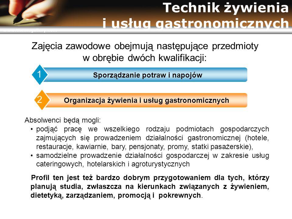 www.themegallery.com Technik żywienia i usług gastronomicznych Absolwenci będą mogli: podjąć pracę we wszelkiego rodzaju podmiotach gospodarczych zajm