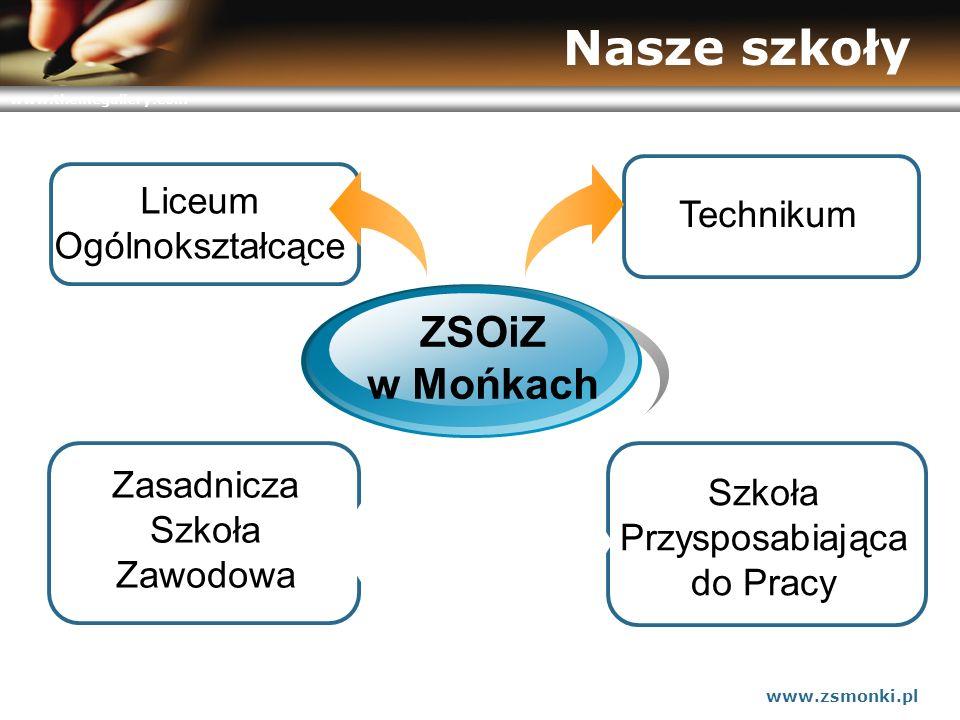 www.themegallery.com www.zsmonki.pl Nasze szkoły Liceum Ogólnokształcące ZSOiZ w Mońkach Zasadnicza Szkoła Zawodowa Szkoła Przysposabiająca do Pracy T