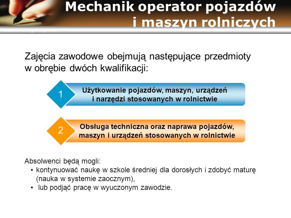 www.themegallery.com Mechanik operator pojazdów i maszyn rolniczych Użytkowanie pojazdów, maszyn, urządzeń i narzędzi stosowanych w rolnictwie 1 Obsłu