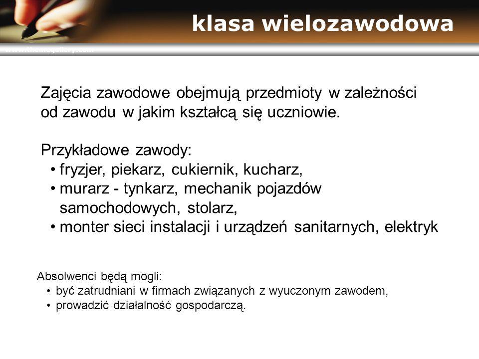 www.themegallery.com klasa wielozawodowa Zajęcia zawodowe obejmują przedmioty w zależności od zawodu w jakim kształcą się uczniowie.