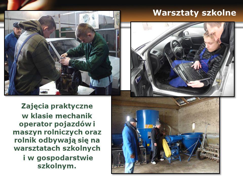 www.themegallery.com Warsztaty szkolne Zajęcia praktyczne w klasie mechanik operator pojazdów i maszyn rolniczych oraz rolnik odbywają się na warsztatach szkolnych i w gospodarstwie szkolnym.