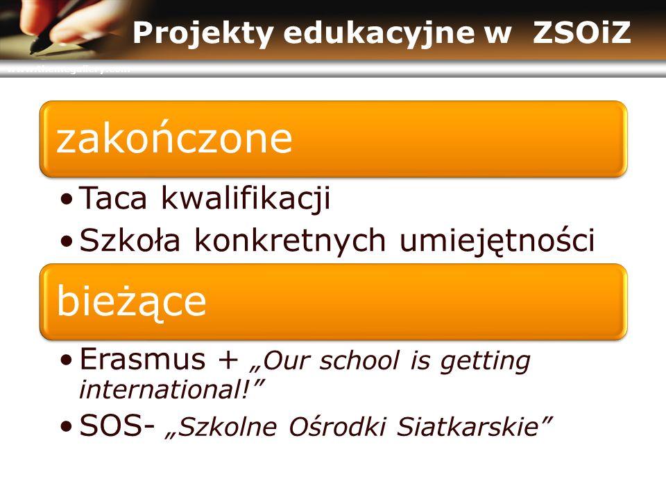 """www.themegallery.com Projekty edukacyjne w ZSOiZ zakończone Taca kwalifikacji Szkoła konkretnych umiejętności bieżące Erasmus + """"Our school is getting international! SOS- """"Szkolne Ośrodki Siatkarskie"""