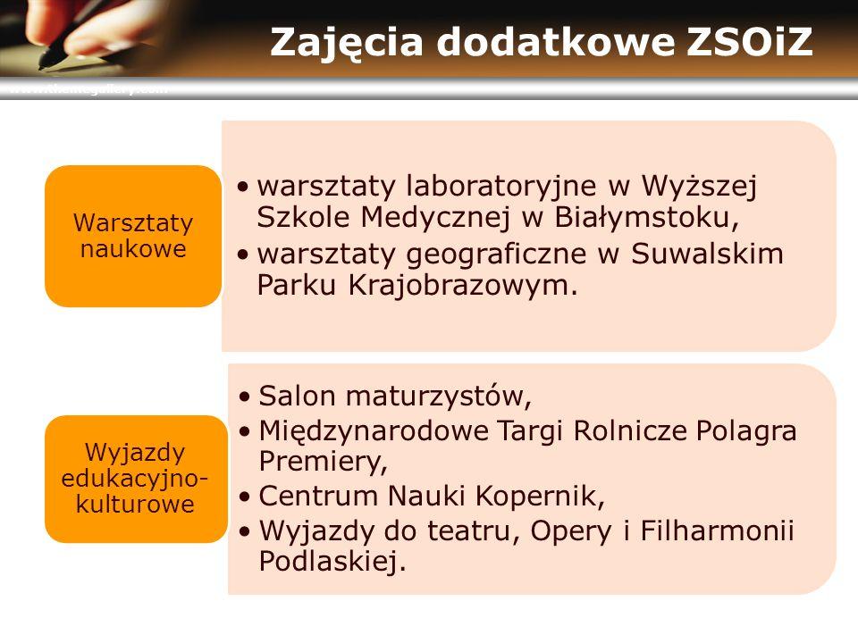 www.themegallery.com Zajęcia dodatkowe ZSOiZ warsztaty laboratoryjne w Wyższej Szkole Medycznej w Białymstoku, warsztaty geograficzne w Suwalskim Parku Krajobrazowym.