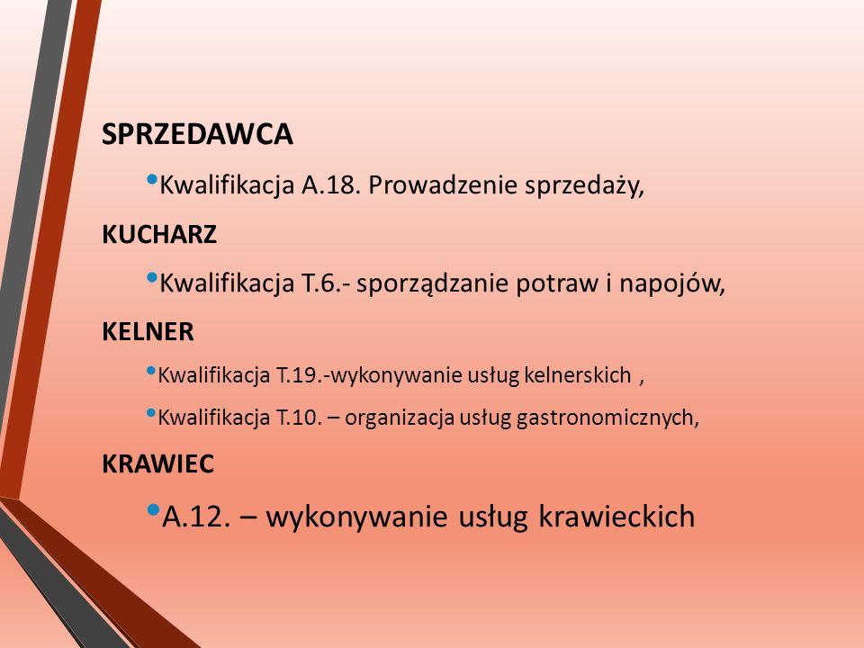SPRZEDAWCA Kwalifikacja A.18.