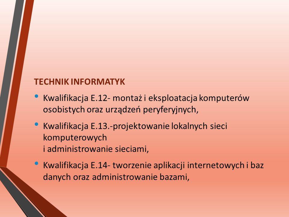 TECHNIK INFORMATYK Kwalifikacja E.12- montaż i eksploatacja komputerów osobistych oraz urządzeń peryferyjnych, Kwalifikacja E.13.-projektowanie lokalnych sieci komputerowych i administrowanie sieciami, Kwalifikacja E.14- tworzenie aplikacji internetowych i baz danych oraz administrowanie bazami,