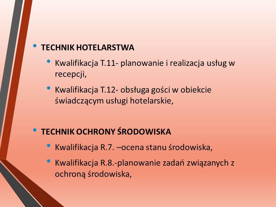 TECHNIK HOTELARSTWA Kwalifikacja T.11- planowanie i realizacja usług w recepcji, Kwalifikacja T.12- obsługa gości w obiekcie świadczącym usługi hotelarskie, TECHNIK OCHRONY ŚRODOWISKA Kwalifikacja R.7.