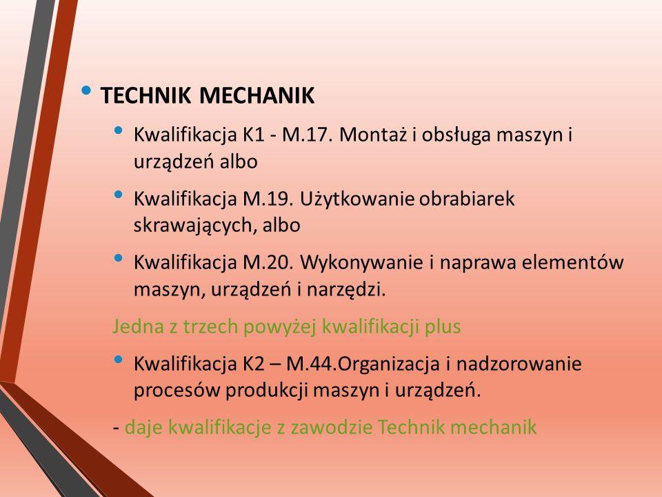 TECHNIK MECHANIK Kwalifikacja K1 - M.17. Montaż i obsługa maszyn i urządzeń albo Kwalifikacja M.19.
