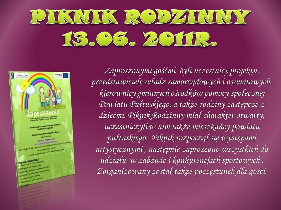 Zaproszonymi gośćmi byli uczestnicy projektu, przedstawiciele władz samorządowych i oświatowych, kierownicy gminnych ośrodków pomocy społecznej Powiatu Pułtuskiego, a także rodziny zastępcze z dziećmi.