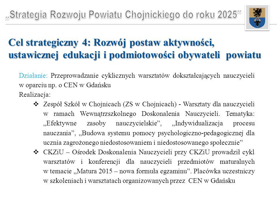 Cel strategiczny 4: Rozwój postaw aktywności, ustawicznej edukacji i podmiotowości obywateli powiatu Działanie: Przeprowadzanie cyklicznych warsztatów dokształcających nauczycieli w oparciu np.