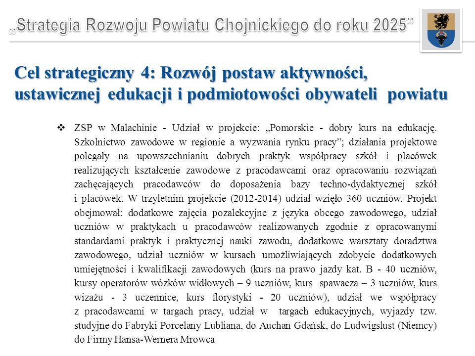 """Cel strategiczny 4: Rozwój postaw aktywności, ustawicznej edukacji i podmiotowości obywateli powiatu  ZSP w Malachinie - Udział w projekcie: """"Pomorskie - dobry kurs na edukację."""