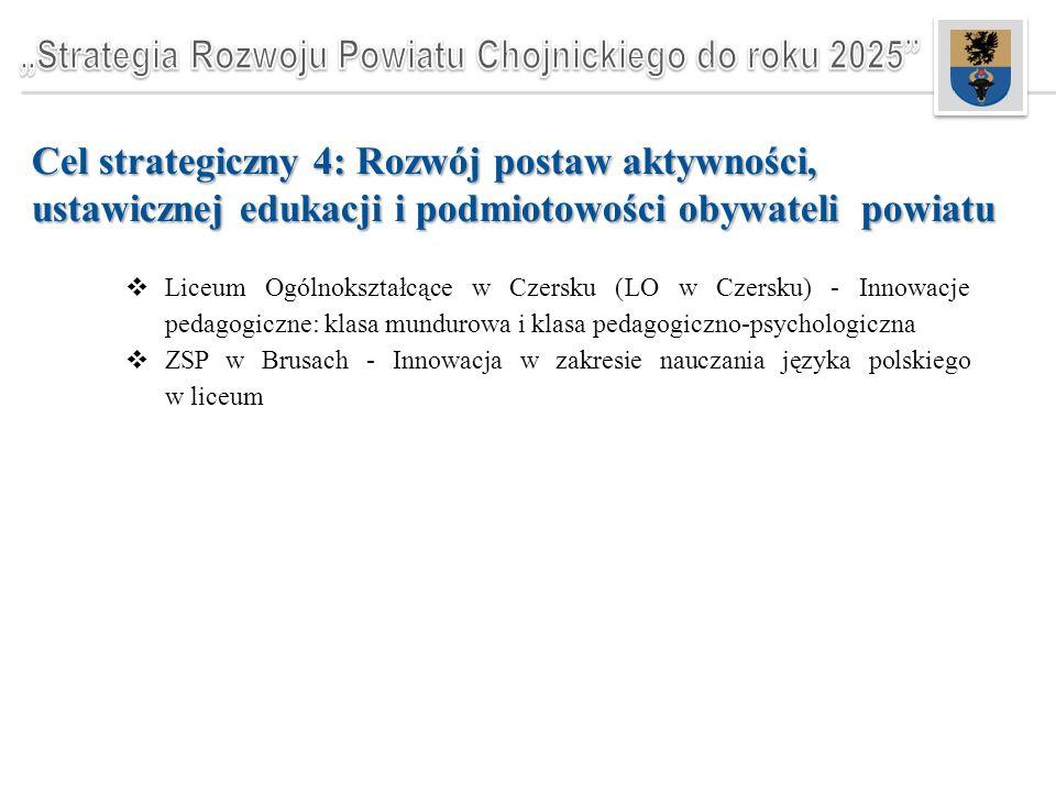 Cel strategiczny 4: Rozwój postaw aktywności, ustawicznej edukacji i podmiotowości obywateli powiatu  Liceum Ogólnokształcące w Czersku (LO w Czersku) - Innowacje pedagogiczne: klasa mundurowa i klasa pedagogiczno-psychologiczna  ZSP w Brusach - Innowacja w zakresie nauczania języka polskiego w liceum