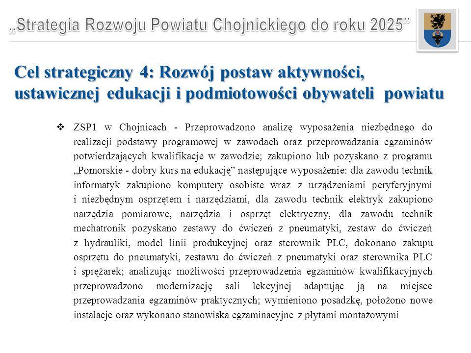 """Cel strategiczny 4: Rozwój postaw aktywności, ustawicznej edukacji i podmiotowości obywateli powiatu  ZSP1 w Chojnicach - Przeprowadzono analizę wyposażenia niezbędnego do realizacji podstawy programowej w zawodach oraz przeprowadzania egzaminów potwierdzających kwalifikacje w zawodzie; zakupiono lub pozyskano z programu """"Pomorskie - dobry kurs na edukację następujące wyposażenie: dla zawodu technik informatyk zakupiono komputery osobiste wraz z urządzeniami peryferyjnymi i niezbędnym osprzętem i narzędziami, dla zawodu technik elektryk zakupiono narzędzia pomiarowe, narzędzia i osprzęt elektryczny, dla zawodu technik mechatronik pozyskano zestawy do ćwiczeń z pneumatyki, zestaw do ćwiczeń z hydrauliki, model linii produkcyjnej oraz sterownik PLC, dokonano zakupu osprzętu do pneumatyki, zestawu do ćwiczeń z pneumatyki oraz sterownika PLC i sprężarek; analizując możliwości przeprowadzenia egzaminów kwalifikacyjnych przeprowadzono modernizację sali lekcyjnej adaptując ją na miejsce przeprowadzania egzaminów praktycznych; wymieniono posadzkę, położono nowe instalacje oraz wykonano stanowiska egzaminacyjne z płytami montażowymi"""