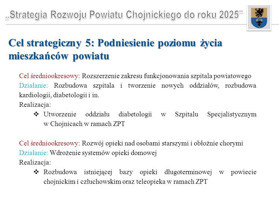 Cel strategiczny 5: Podniesienie poziomu życia mieszkańców powiatu Cel średniookresowy: Rozszerzenie zakresu funkcjonowania szpitala powiatowego Działanie: Rozbudowa szpitala i tworzenie nowych oddziałów, rozbudowa kardiologii, diabetologii i in.