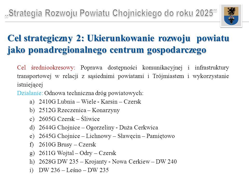 Cel strategiczny 2: Ukierunkowanie rozwoju powiatu jako ponadregionalnego centrum gospodarczego Cel średniookresowy: Poprawa dostępności komunikacyjnej i infrastruktury transportowej w relacji z sąsiednimi powiatami i Trójmiastem i wykorzystanie istniejącej Działanie: Odnowa techniczna dróg powiatowych: a)2410G Lubnia – Wiele - Karsin – Czersk b)2512G Rzeczenica – Konarzyny c)2605G Czersk – Śliwice d)2644G Chojnice – Ogorzeliny - Duża Cerkwica e)2645G Chojnice – Lichnowy – Sławęcin – Pamiętowo f)2610G Brusy – Czersk g)2611G Wojtal – Odry – Czersk h)2628G DW 235 – Krojanty - Nowa Cerkiew – DW 240 i)DW 236 – Leśno – DW 235