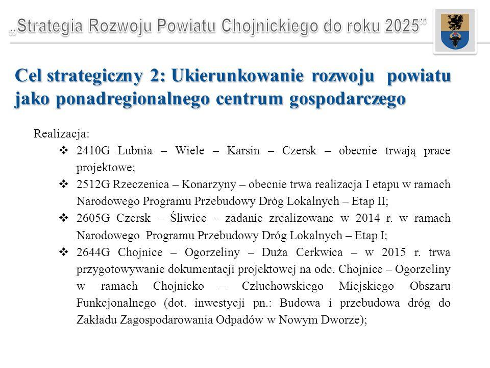 Cel strategiczny 2: Ukierunkowanie rozwoju powiatu jako ponadregionalnego centrum gospodarczego Realizacja:  2410G Lubnia – Wiele – Karsin – Czersk – obecnie trwają prace projektowe;  2512G Rzeczenica – Konarzyny – obecnie trwa realizacja I etapu w ramach Narodowego Programu Przebudowy Dróg Lokalnych – Etap II;  2605G Czersk – Śliwice – zadanie zrealizowane w 2014 r.