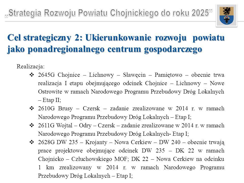 Cel strategiczny 2: Ukierunkowanie rozwoju powiatu jako ponadregionalnego centrum gospodarczego Realizacja:  2645G Chojnice – Lichnowy – Sławęcin – Pamiętowo – obecnie trwa realizacja I etapu obejmującego odcinek Chojnice – Lichnowy – Nowe Ostrowite w ramach Narodowego Programu Przebudowy Dróg Lokalnych – Etap II;  2610G Brusy – Czersk – zadanie zrealizowane w 2014 r.