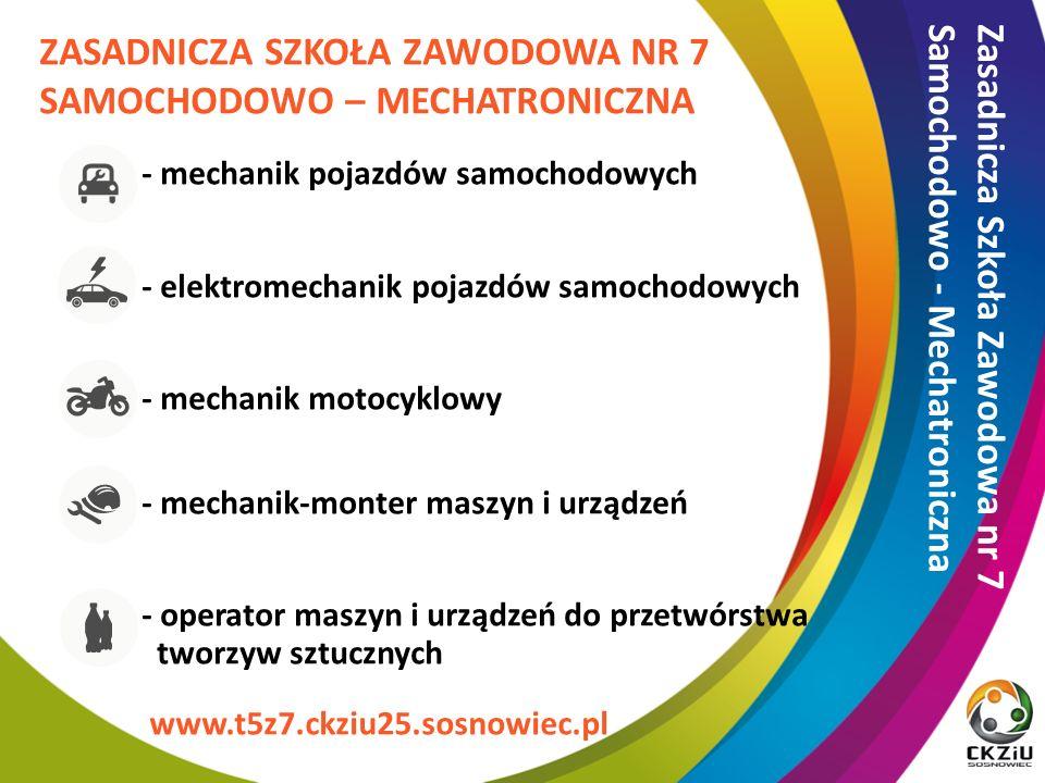 ZASADNICZA SZKOŁA ZAWODOWA NR 7 SAMOCHODOWO – MECHATRONICZNA - mechanik pojazdów samochodowych - elektromechanik pojazdów samochodowych - mechanik motocyklowy - mechanik-monter maszyn i urządzeń - operator maszyn i urządzeń do przetwórstwa tworzyw sztucznych Zasadnicza Szkoła Zawodowa nr 7 Samochodowo - Mechatroniczna www.t5z7.ckziu25.sosnowiec.pl