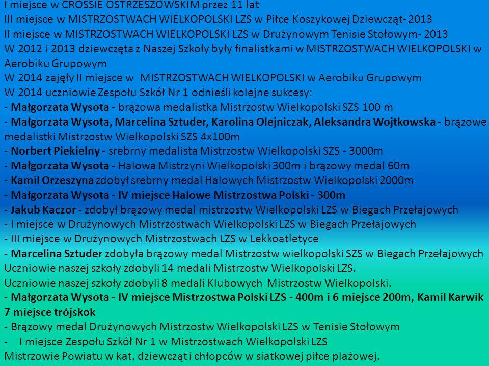I miejsce w CROSSIE OSTRZESZOWSKIM przez 11 lat III miejsce w MISTRZOSTWACH WIELKOPOLSKI LZS w Piłce Koszykowej Dziewcząt- 2013 II miejsce w MISTRZOSTWACH WIELKOPOLSKI LZS w Drużynowym Tenisie Stołowym- 2013 W 2012 i 2013 dziewczęta z Naszej Szkoły były finalistkami w MISTRZOSTWACH WIELKOPOLSKI w Aerobiku Grupowym W 2014 zajęły II miejsce w MISTRZOSTWACH WIELKOPOLSKI w Aerobiku Grupowym W 2014 uczniowie Zespołu Szkół Nr 1 odnieśli kolejne sukcesy: - Małgorzata Wysota - brązowa medalistka Mistrzostw Wielkopolski SZS 100 m - Małgorzata Wysota, Marcelina Sztuder, Karolina Olejniczak, Aleksandra Wojtkowska - brązowe medalistki Mistrzostw Wielkopolski SZS 4x100m - Norbert Piekielny - srebrny medalista Mistrzostw Wielkopolski SZS - 3000m - Małgorzata Wysota - Halowa Mistrzyni Wielkopolski 300m i brązowy medal 60m - Kamil Orzeszyna zdobył srebrny medal Halowych Mistrzostw Wielkopolski 2000m - Małgorzata Wysota - IV miejsce Halowe Mistrzostwa Polski - 300m - Jakub Kaczor - zdobył brązowy medal mistrzostw Wielkopolski LZS w Biegach Przełajowych - I miejsce w Drużynowych Mistrzostwach Wielkopolski LZS w Biegach Przełajowych - III miejsce w Drużynowych Mistrzostwach LZS w Lekkoatletyce - Marcelina Sztuder zdobyła brązowy medal Mistrzostw wielkopolski SZS w Biegach Przełajowych Uczniowie naszej szkoły zdobyli 14 medali Mistrzostw Wielkopolski LZS.