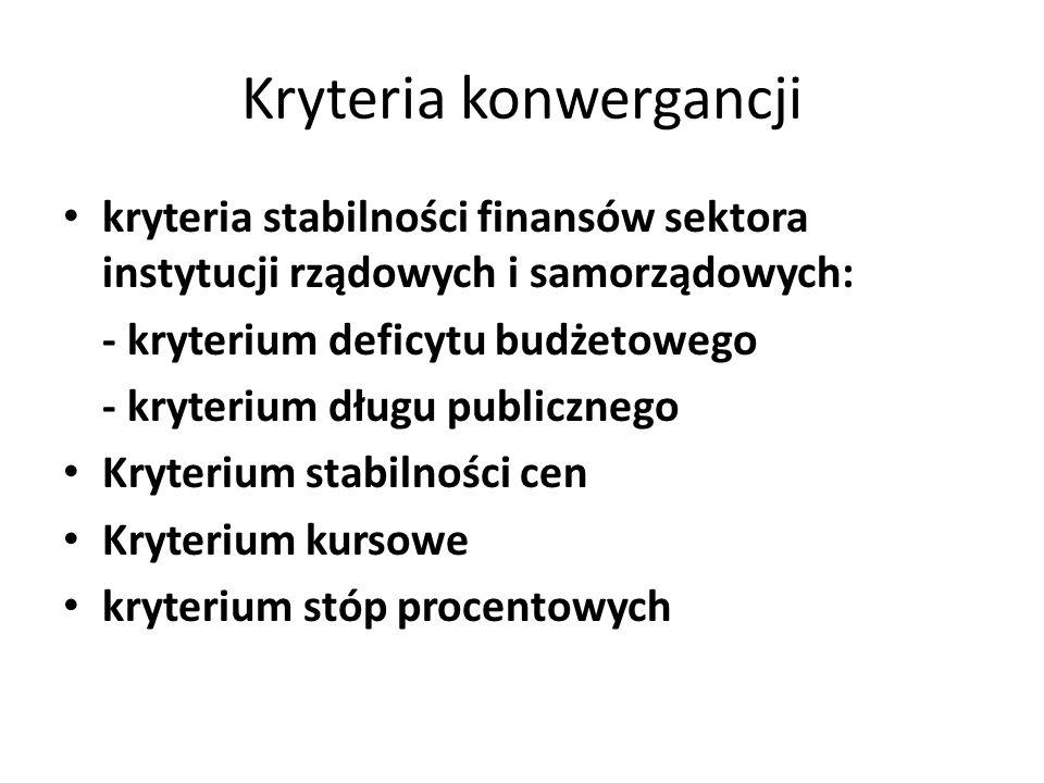 Kryteria konwergancji kryteria stabilności finansów sektora instytucji rządowych i samorządowych: - kryterium deficytu budżetowego - kryterium długu p