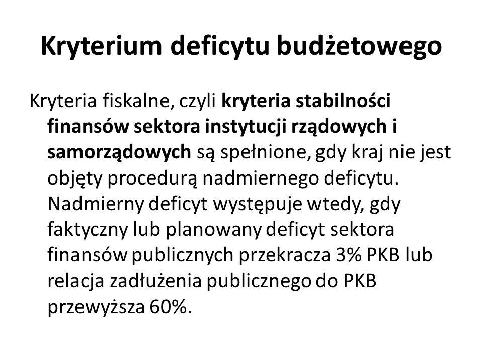 Kryterium deficytu budżetowego Kryteria fiskalne, czyli kryteria stabilności finansów sektora instytucji rządowych i samorządowych są spełnione, gdy k
