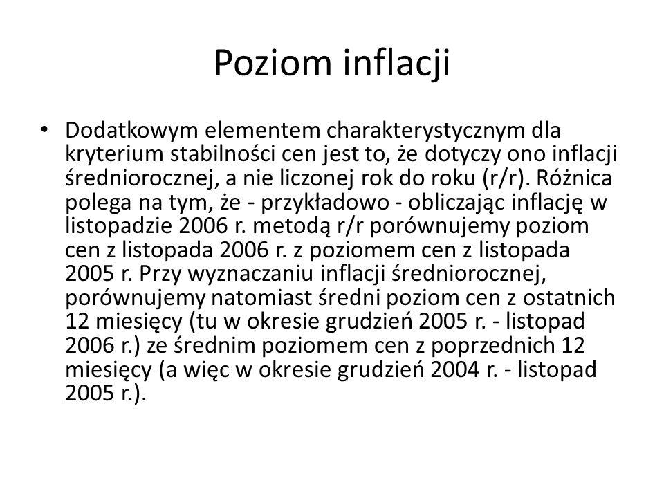 Poziom inflacji Dodatkowym elementem charakterystycznym dla kryterium stabilności cen jest to, że dotyczy ono inflacji średniorocznej, a nie liczonej
