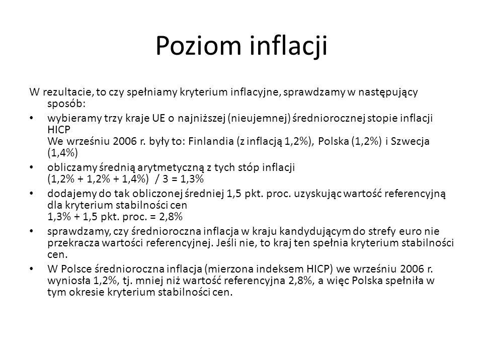 Poziom inflacji W rezultacie, to czy spełniamy kryterium inflacyjne, sprawdzamy w następujący sposób: wybieramy trzy kraje UE o najniższej (nieujemnej