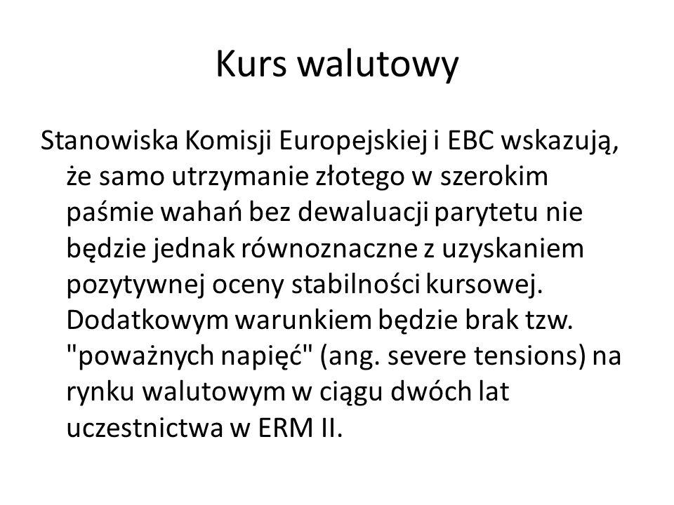 Kurs walutowy Stanowiska Komisji Europejskiej i EBC wskazują, że samo utrzymanie złotego w szerokim paśmie wahań bez dewaluacji parytetu nie będzie je