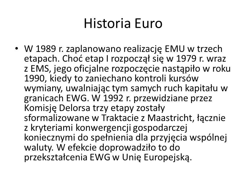 Historia Euro W 1989 r. zaplanowano realizację EMU w trzech etapach. Choć etap I rozpoczął się w 1979 r. wraz z EMS, jego oficjalne rozpoczęcie nastąp