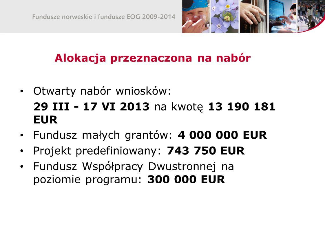 Alokacja przeznaczona na nabór Otwarty nabór wniosków: 29 III - 17 VI 2013 na kwotę 13 190 181 EUR Fundusz małych grantów: 4 000 000 EUR Projekt predefiniowany: 743 750 EUR Fundusz Współpracy Dwustronnej na poziomie programu: 300 000 EUR