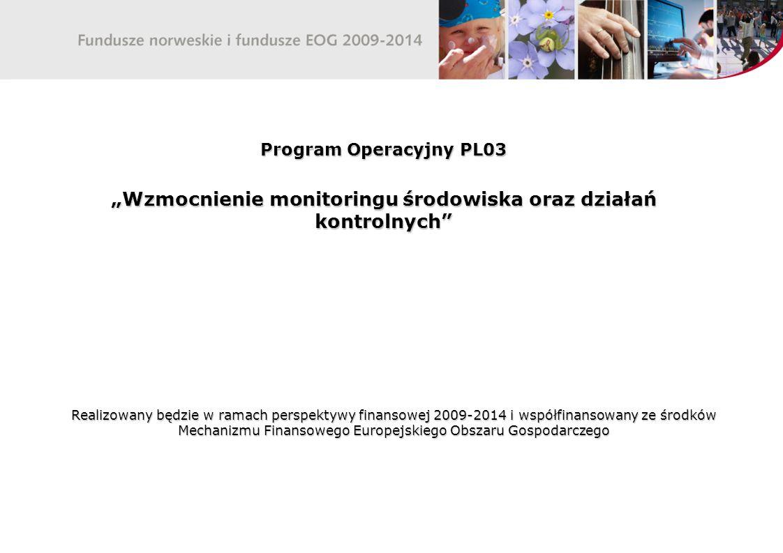 """Program Operacyjny PL03 """"Wzmocnienie monitoringu środowiska oraz działań kontrolnych Realizowany będzie w ramach perspektywy finansowej 2009-2014 i współfinansowany ze środków Mechanizmu Finansowego Europejskiego Obszaru Gospodarczego"""