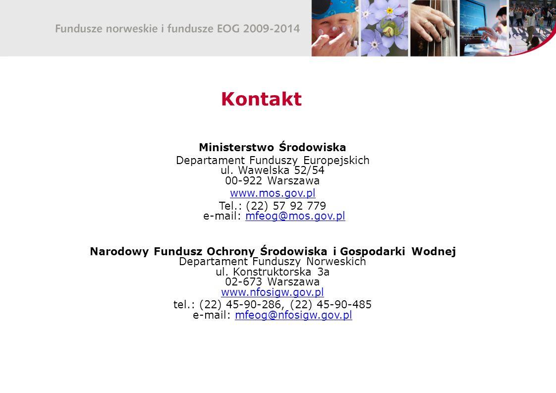 Kontakt Ministerstwo Środowiska Departament Funduszy Europejskich ul.