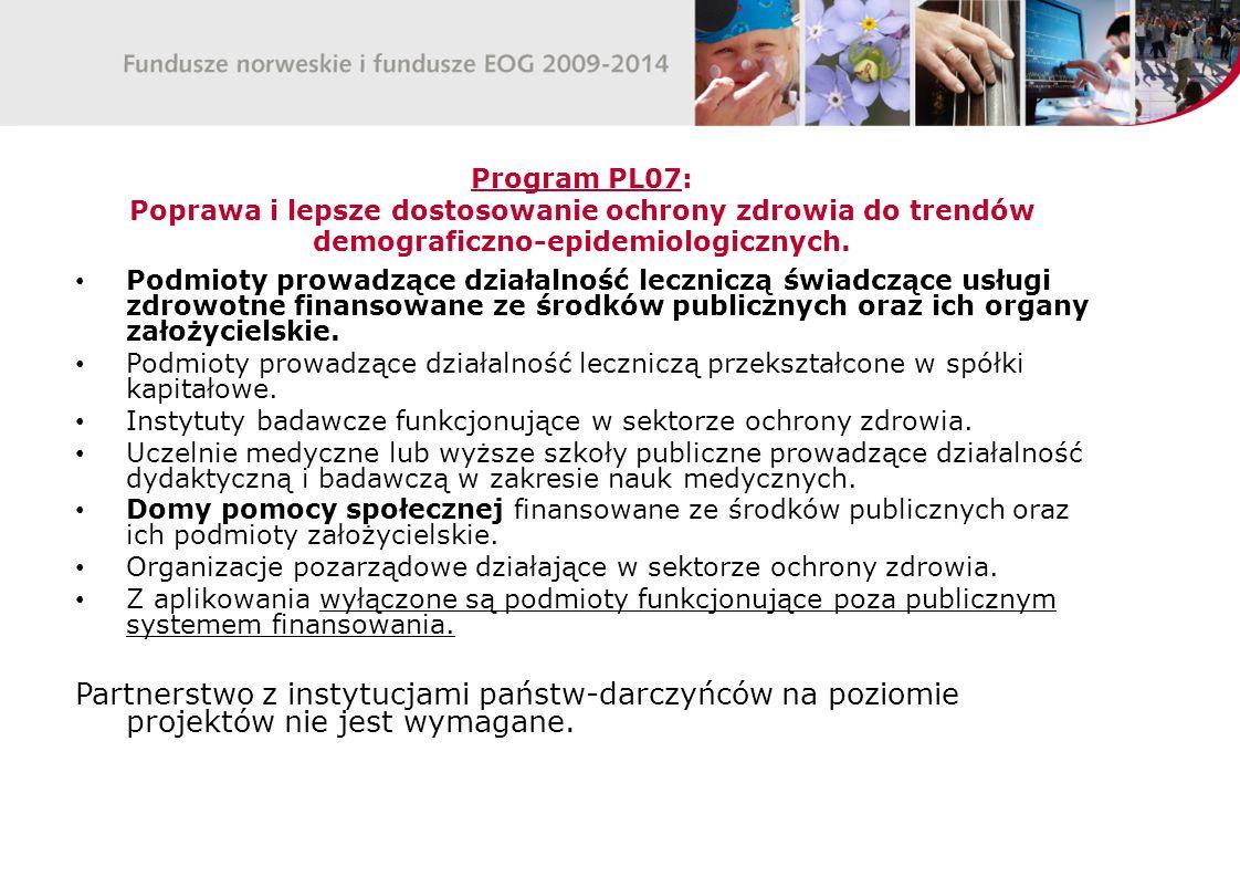 Program PL07: Poprawa i lepsze dostosowanie ochrony zdrowia do trendów demograficzno-epidemiologicznych.