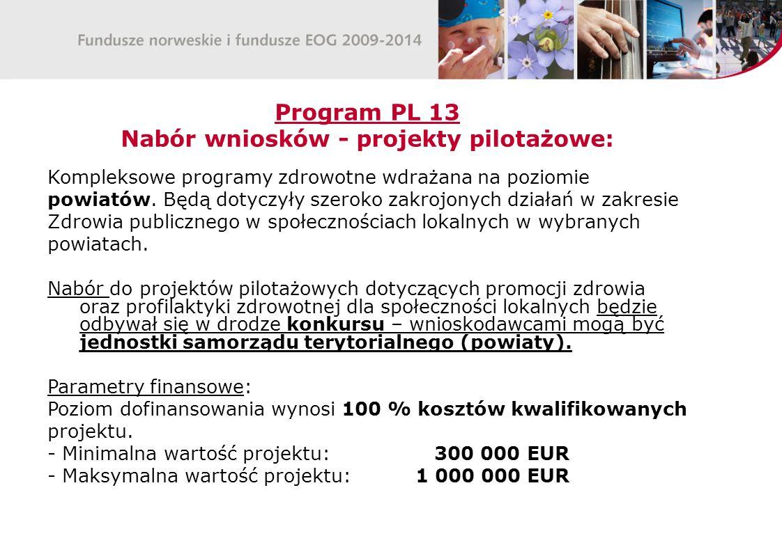 Program PL 13 Nabór wniosków - projekty pilotażowe: Kompleksowe programy zdrowotne wdrażana na poziomie powiatów.