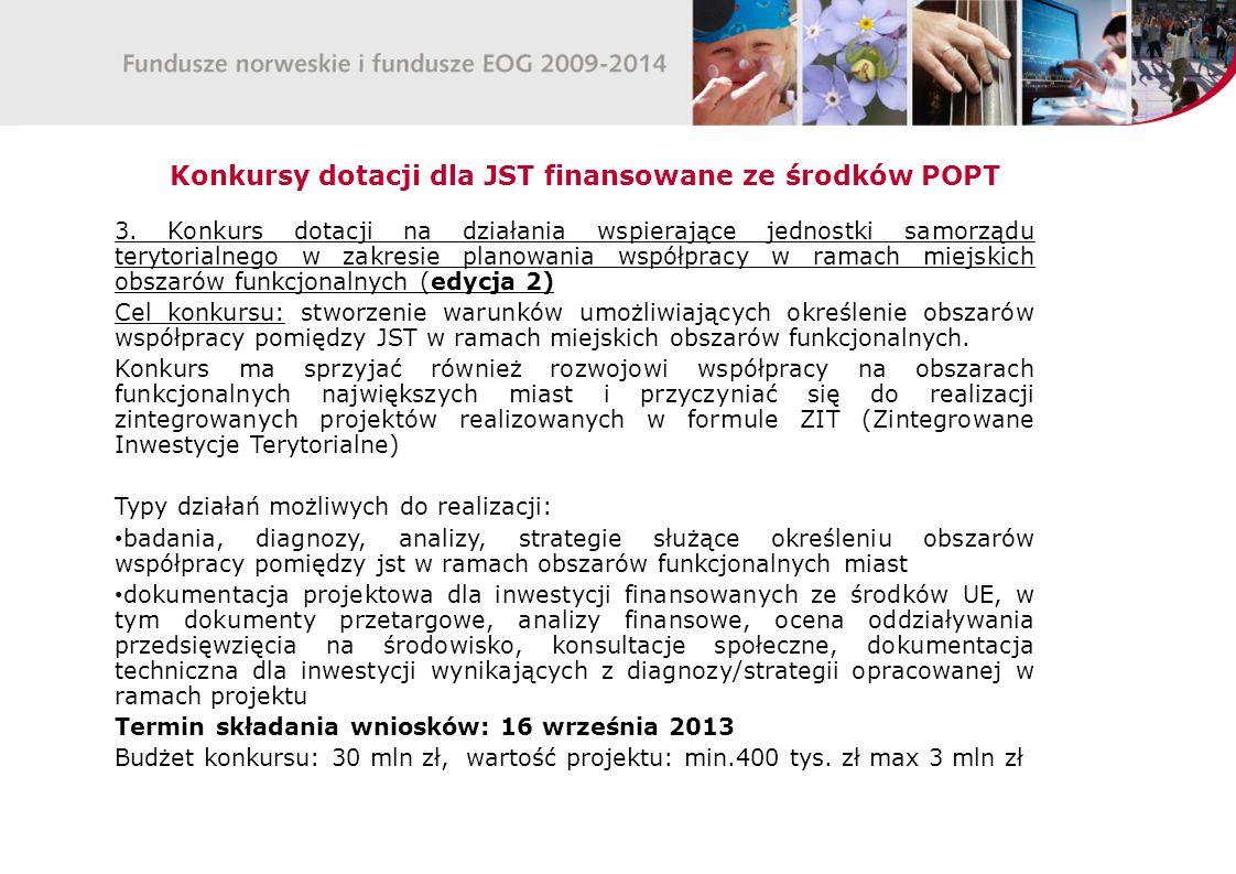 Konkursy dotacji dla JST finansowane ze środków POPT 3.