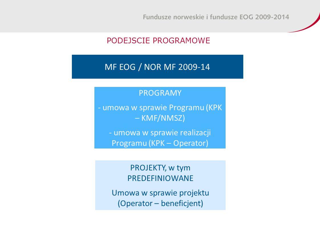PODEJSCIE PROGRAMOWE MF EOG / NOR MF 2009-14 PROGRAMY - umowa w sprawie Programu (KPK – KMF/NMSZ) - umowa w sprawie realizacji Programu (KPK – Operator) PROJEKTY, w tym PREDEFINIOWANE Umowa w sprawie projektu (Operator – beneficjent)