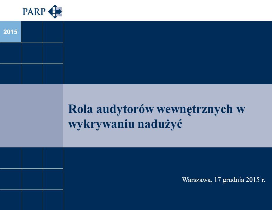 2015 Rola audytorów wewnętrznych w wykrywaniu nadużyć Warszawa, 17 grudnia 2015 r.