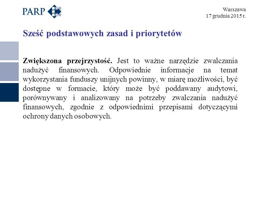 Warszawa 17 grudnia 2015 r. Sześć podstawowych zasad i priorytetów Zwiększona przejrzystość.