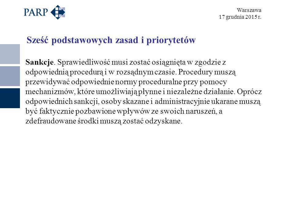 Warszawa 17 grudnia 2015 r. Sześć podstawowych zasad i priorytetów Sankcje.