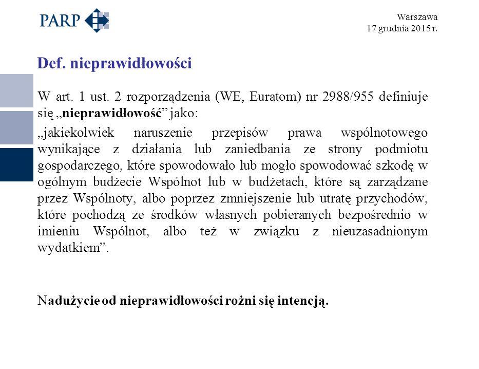 Warszawa 17 grudnia 2015 r. Def. nieprawidłowości W art.