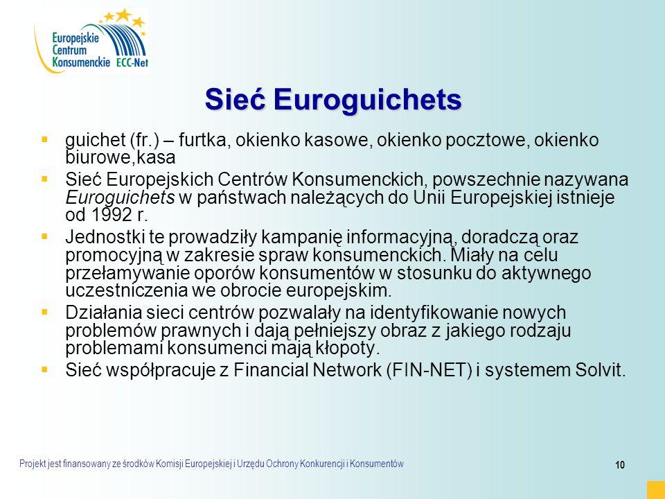Projekt jest finansowany ze środków Komisji Europejskiej i Urzędu Ochrony Konkurencji i Konsumentów 10 Sieć Euroguichets   guichet (fr.) – furtka, okienko kasowe, okienko pocztowe, okienko biurowe,kasa   Sieć Europejskich Centrów Konsumenckich, powszechnie nazywana Euroguichets w państwach należących do Unii Europejskiej istnieje od 1992 r.