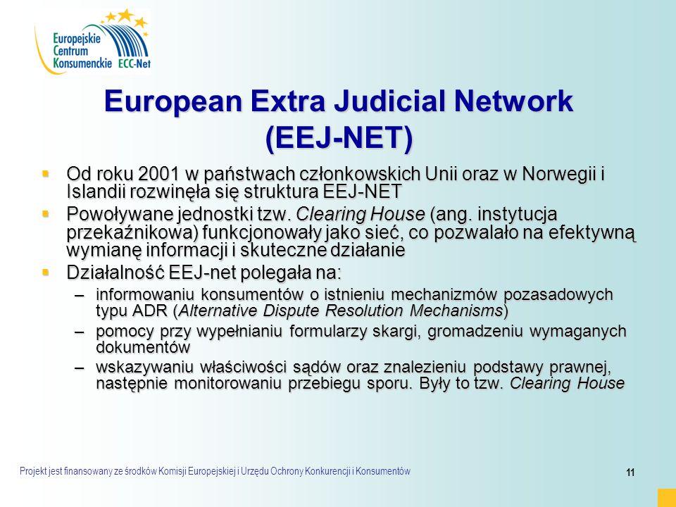 Projekt jest finansowany ze środków Komisji Europejskiej i Urzędu Ochrony Konkurencji i Konsumentów 11 European Extra Judicial Network (EEJ-NET)  Od roku 2001 w państwach członkowskich Unii oraz w Norwegii i Islandii rozwinęła się struktura EEJ-NET  Powoływane jednostki tzw.