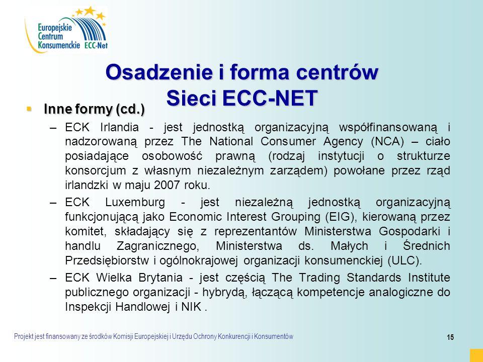 Projekt jest finansowany ze środków Komisji Europejskiej i Urzędu Ochrony Konkurencji i Konsumentów 15 Osadzenie i forma centrów Sieci ECC-NET  Inne