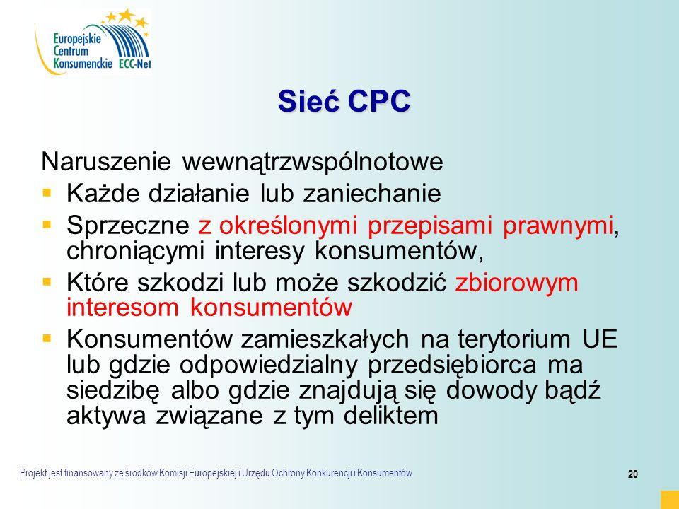 Projekt jest finansowany ze środków Komisji Europejskiej i Urzędu Ochrony Konkurencji i Konsumentów 20 Sieć CPC Sieć CPC Naruszenie wewnątrzwspólnotowe   Każde działanie lub zaniechanie   Sprzeczne z określonymi przepisami prawnymi, chroniącymi interesy konsumentów,   Które szkodzi lub może szkodzić zbiorowym interesom konsumentów   Konsumentów zamieszkałych na terytorium UE lub gdzie odpowiedzialny przedsiębiorca ma siedzibę albo gdzie znajdują się dowody bądź aktywa związane z tym deliktem