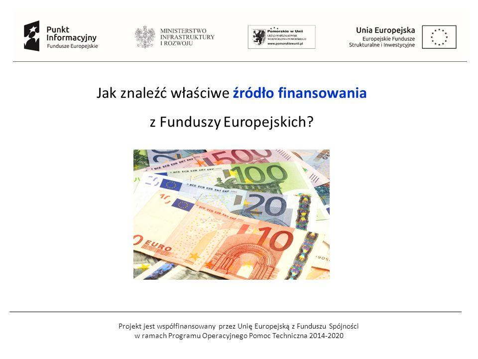 Projekt jest współfinansowany przez Unię Europejską z Funduszu Spójności w ramach Programu Operacyjnego Pomoc Techniczna 2014-2020 Jak znaleźć właściwe źródło finansowania z Funduszy Europejskich