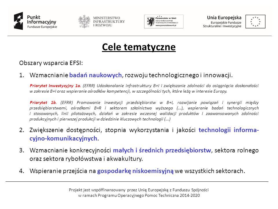 Projekt jest współfinansowany przez Unię Europejską z Funduszu Spójności w ramach Programu Operacyjnego Pomoc Techniczna 2014-2020 Cele tematyczne Obszary wsparcia EFSI: 1.Wzmacnianie badań naukowych, rozwoju technologicznego i innowacji.