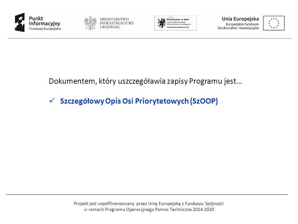 Dokumentem, który uszczegóławia zapisy Programu jest… Szczegółowy Opis Osi Priorytetowych (SzOOP)